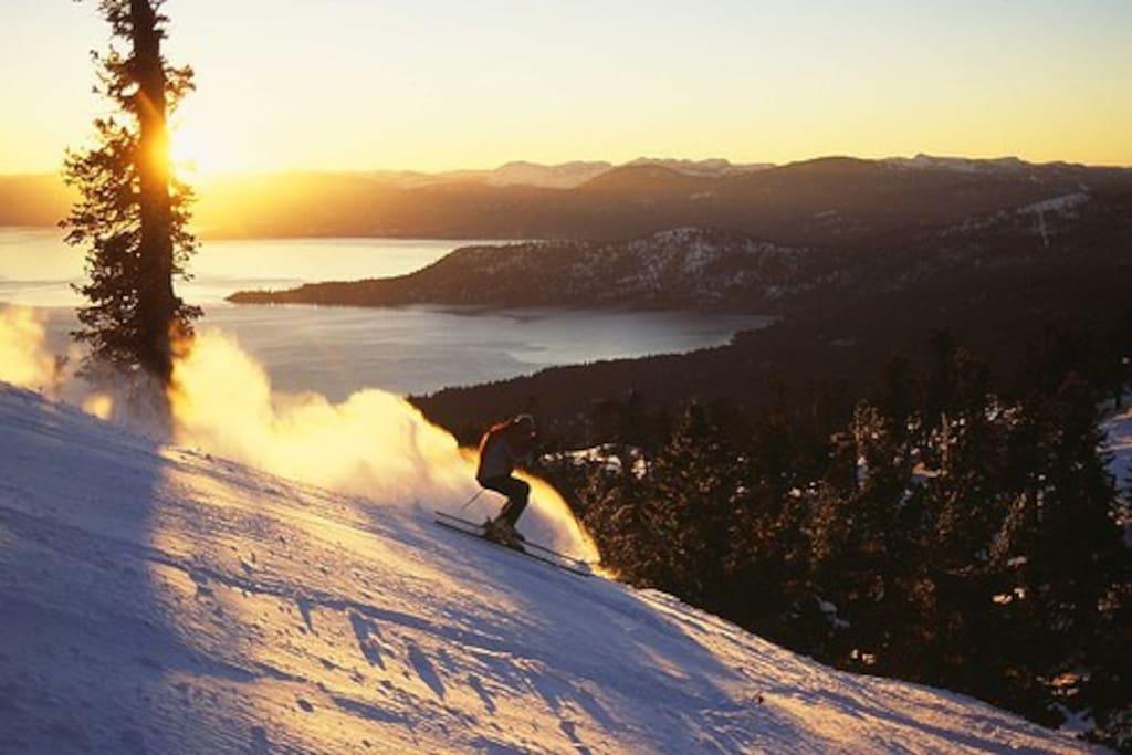 Overlooks Diamond Peak Ski Resort from the Hot Tub