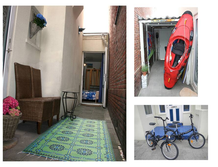 Private outside area with room for your surfboard or bicycle. Rent our bicycles for €5 a day pp.
