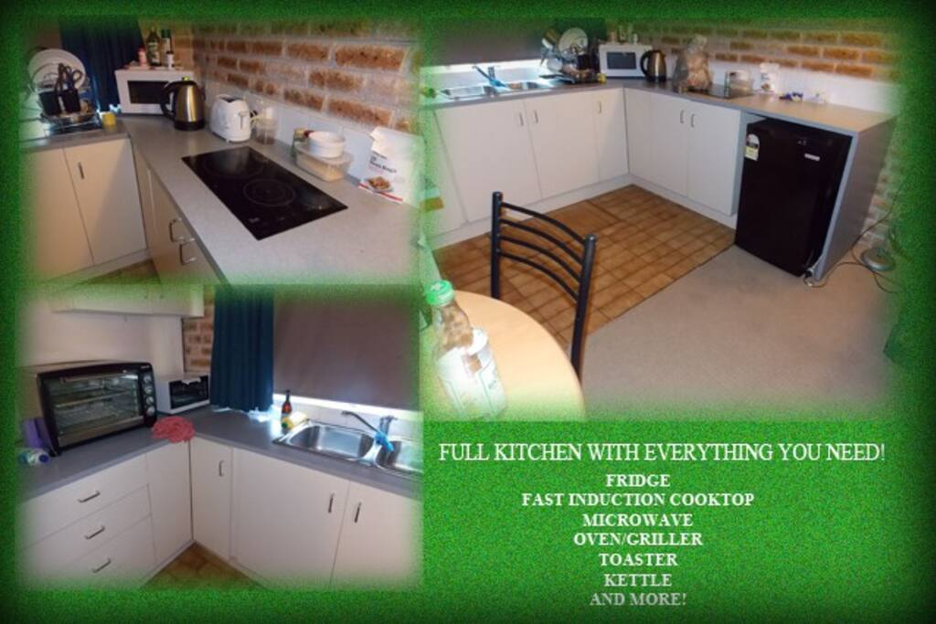 kitchen with many extras.