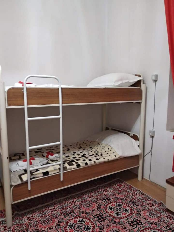 Budget room for 4 persons in city center