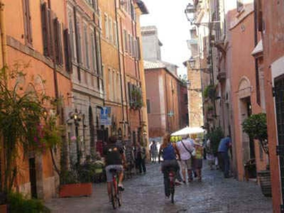 Just down Via Garibaldi....characteristic streets of Trastevere with local shops and restaurants