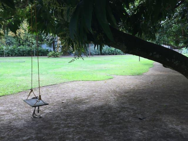 Jardín campestre seguro para camping junto al río