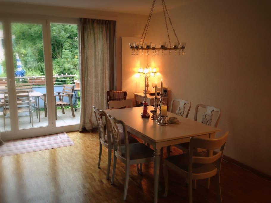 Dining room and sunny balcony