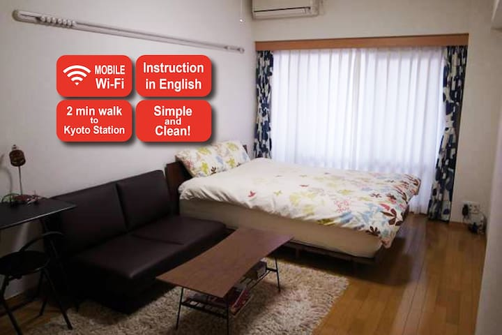 Pocket wifi/ Only 2 min from  Kyoto station!!!! - Kyoto-shi - Apartment