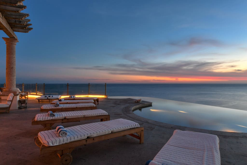 Patio Lounge Chairs at Sunset