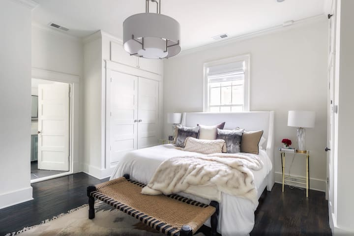 The Master Bedroom has a beautiful King bed.