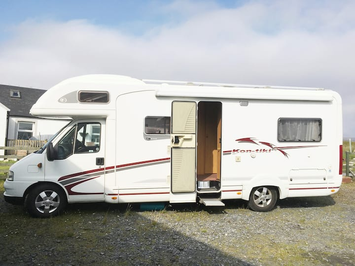 Rural Islay motorhome for 4 with lovely views.