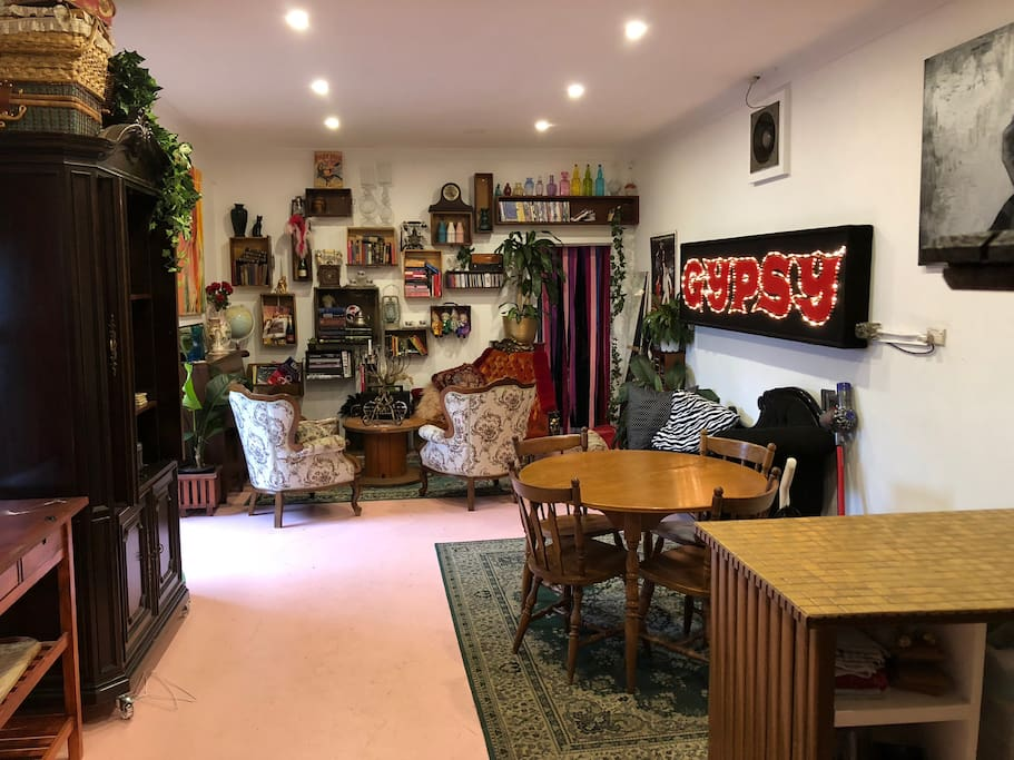 THE LOUNGE! We love our little warehouse space, complete with the lights up sign from the original Australian production of GYPSY.