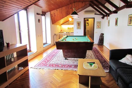 Family home 95m loft apartment with pool table