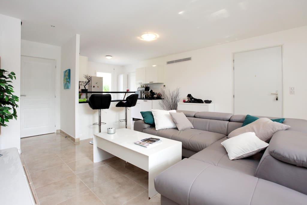 grand espace convivial avec cuisine ouverte et canapé angle très confortable ,convertible également