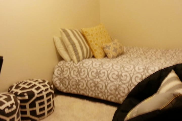 Extra rroom with full size futon set up for sleeping