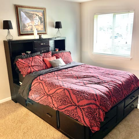 Queen size bed with storage space that you can use on each side