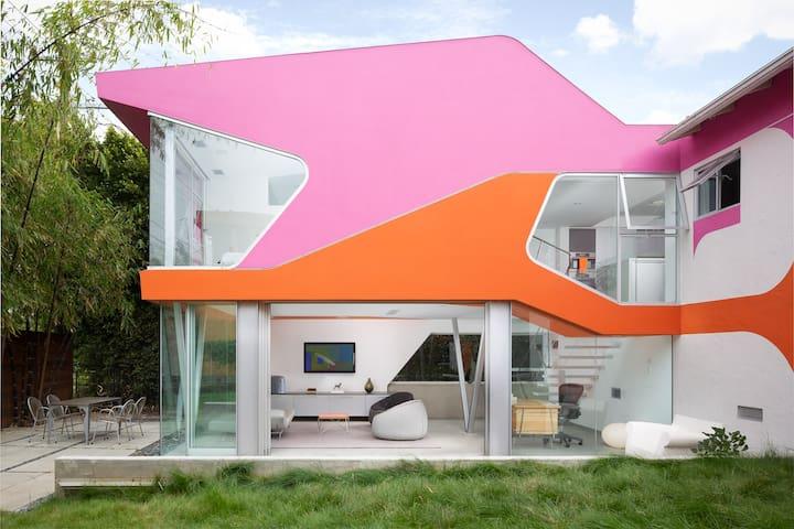 Sunny bedroom in West LA architectural gem.