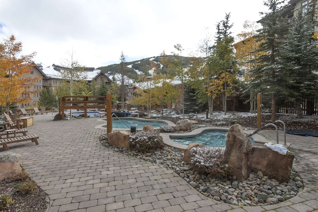 Multiple Outdoor Hot Tubs with Views of the Slopes
