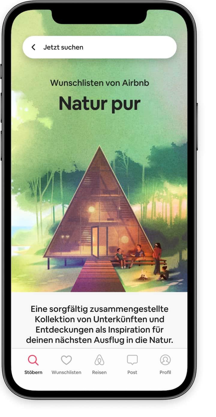 """Startbildschirm, auf dem die Wunschlisten-Kollektion """"Natur pur"""" in der Airbnb-App angezeigt wird"""