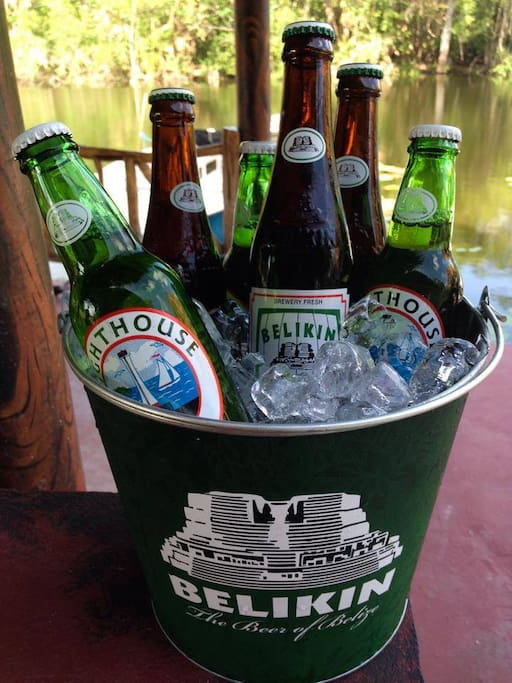 Bucket of beer on the riverside deck.  Maracas Bar and Grill
