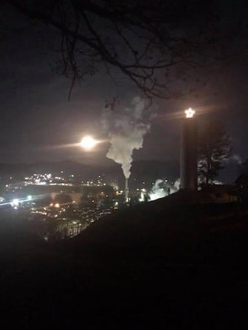 Back yard view of East Sylva at night.