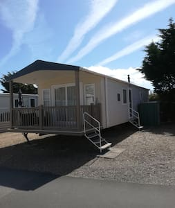 Southsea caravan with a veranda