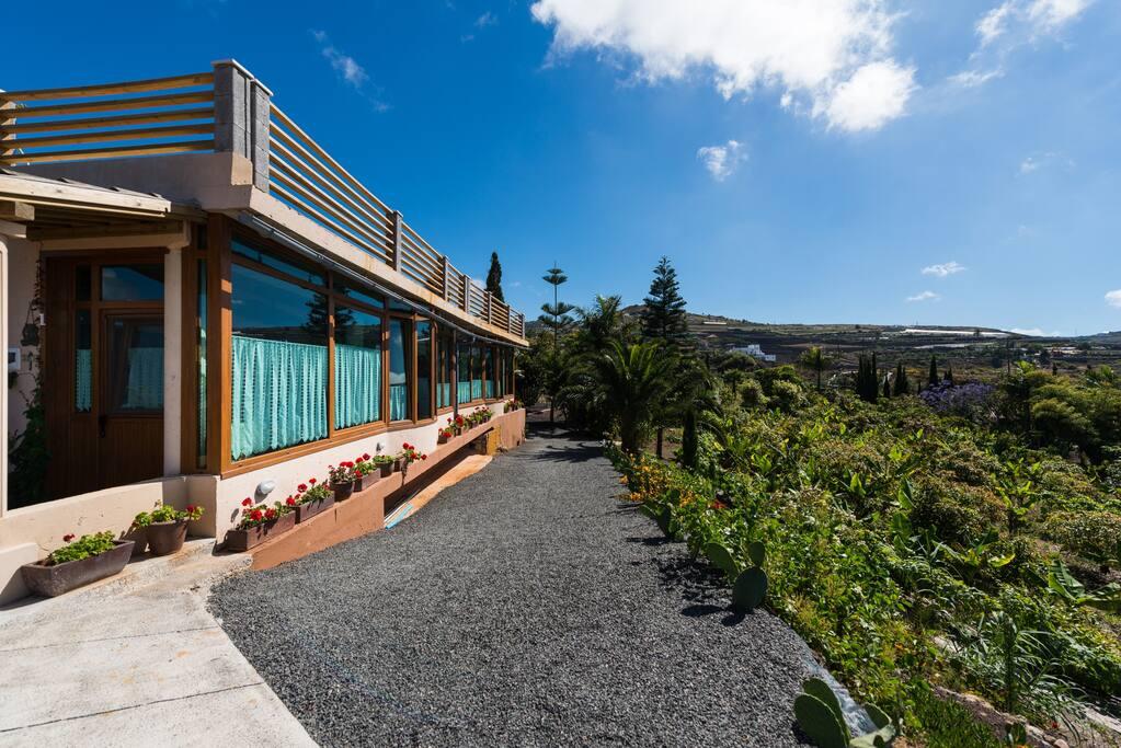 """Vista exterior del loft número 1 de """"Colina del mar"""" con verde tropical de fondo."""