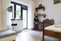 Wood furniture gives the apt. its charm