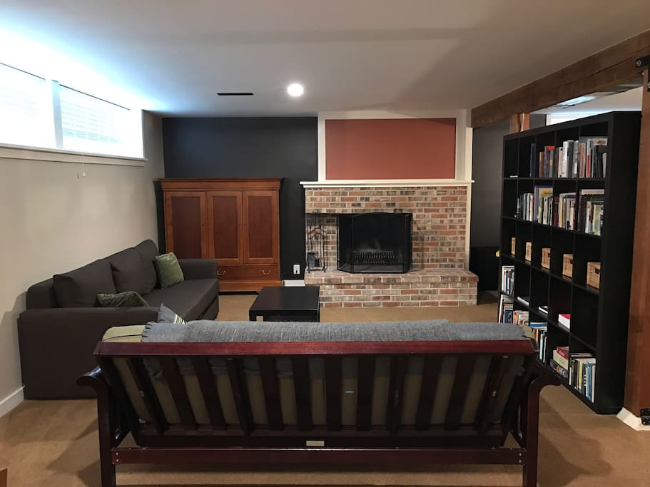 When you walk in you view the living room and library.