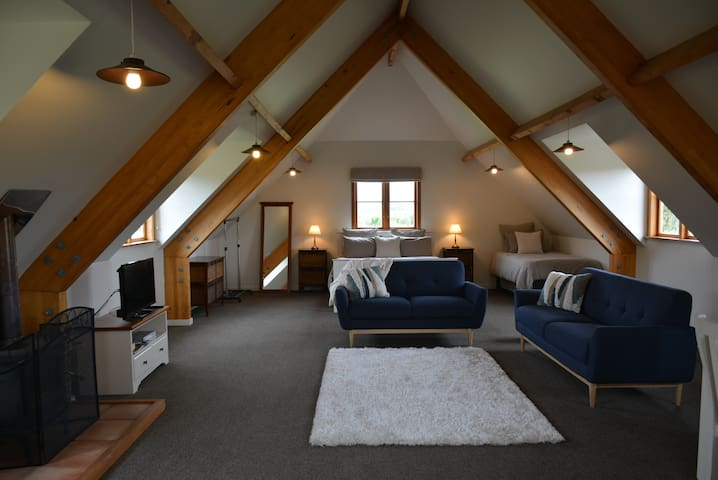 Open plan living upstairs with fabulous views