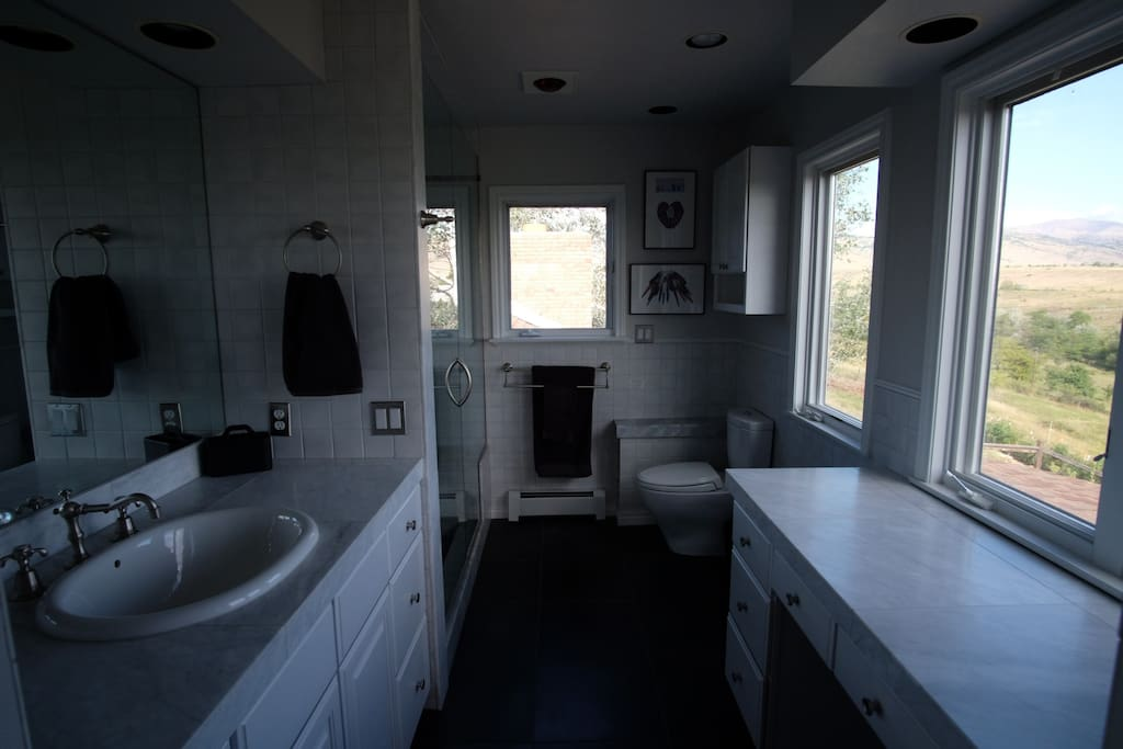 Marble bath w/shower