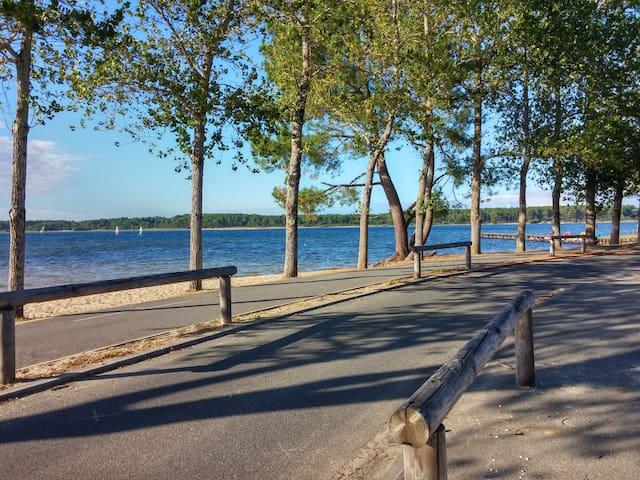 Les pistes cyclables qui longent le lac à sanguinet.