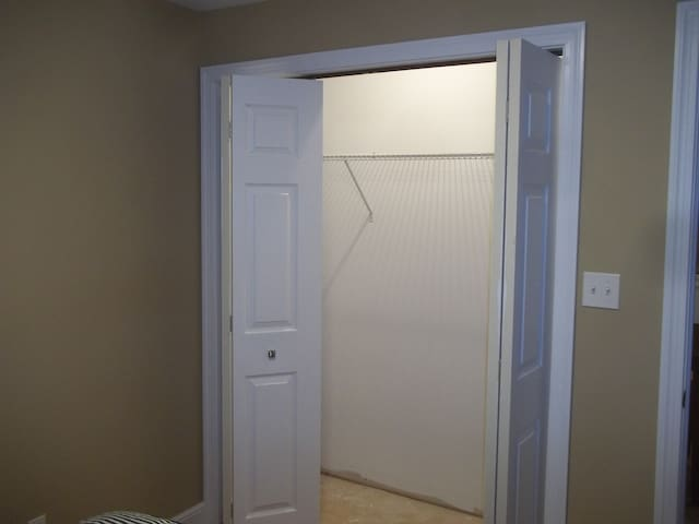spacious closet in bedroom