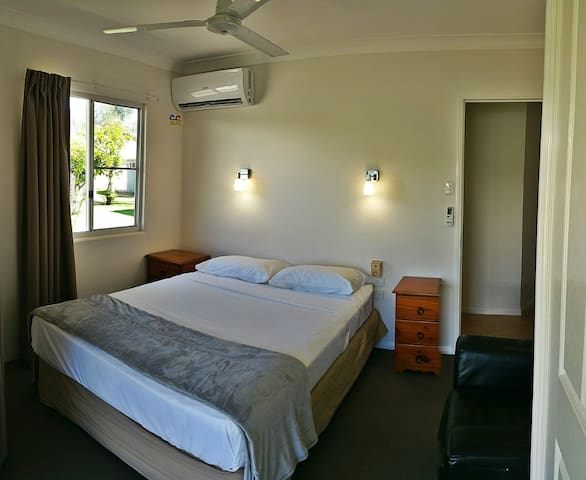 First bedroom with Queen bed. View A
