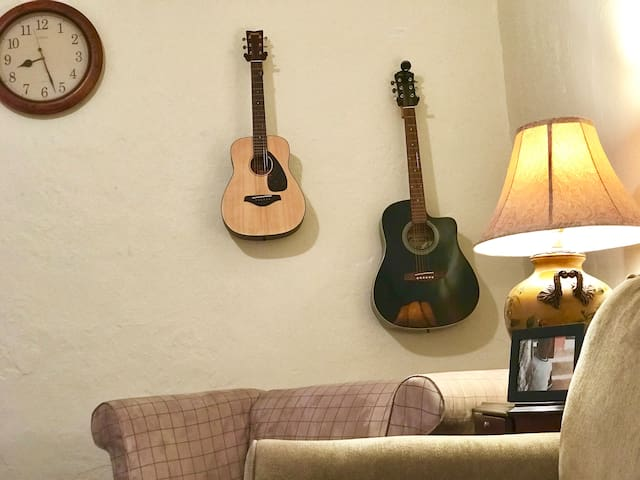 Relax and strum our guitars.