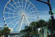 There are enclosed Skywheels at Broadway at the Beach and on the ocean with spectacular views. Helicopter rides are available as well.