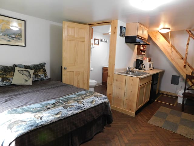 First Floor as you enter the cabin - Queen Bed & Kitchenette area