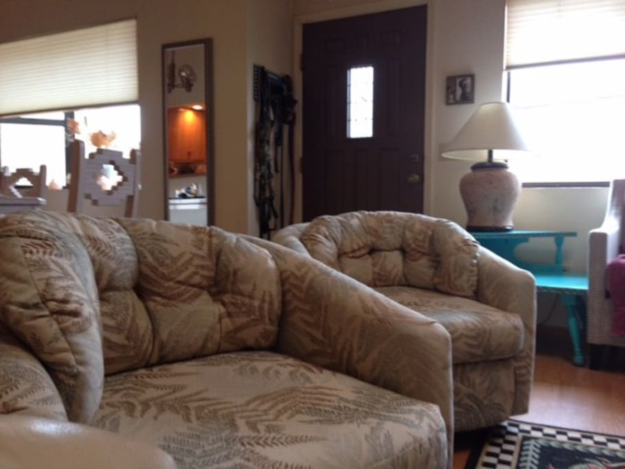 Comfy swivel chairs in living room