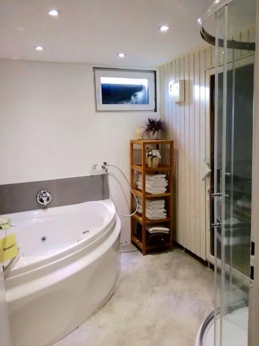 Badezimmer mit Whirlpoolwanne und Sauna