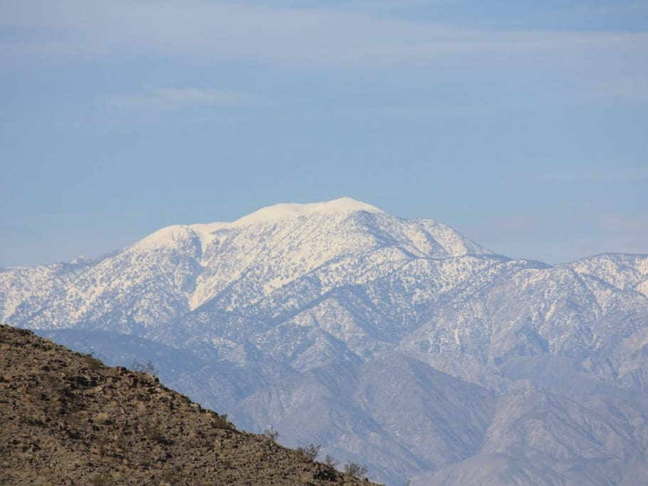 Our San Jacinto Mountains in winter as seen from the property.