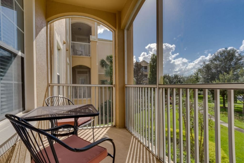 The lanai has outdoor furniture so you can relax while taking in the view