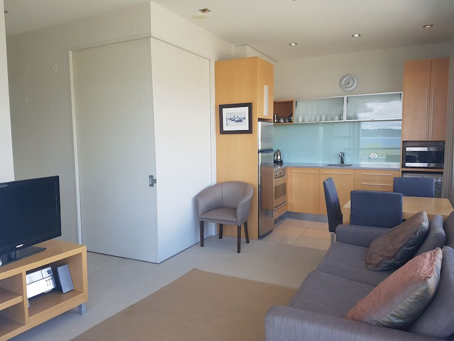 Bedroom can be closed off using sliding doors