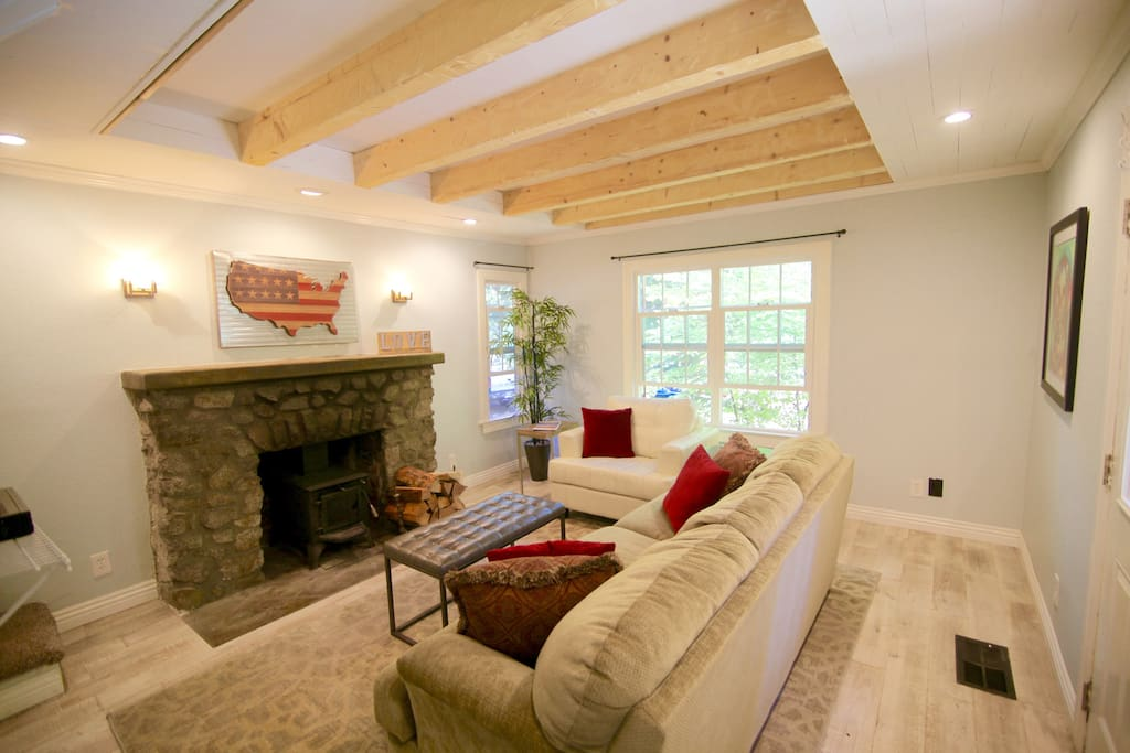 Living room with exposed beams and pull-out sofa bed