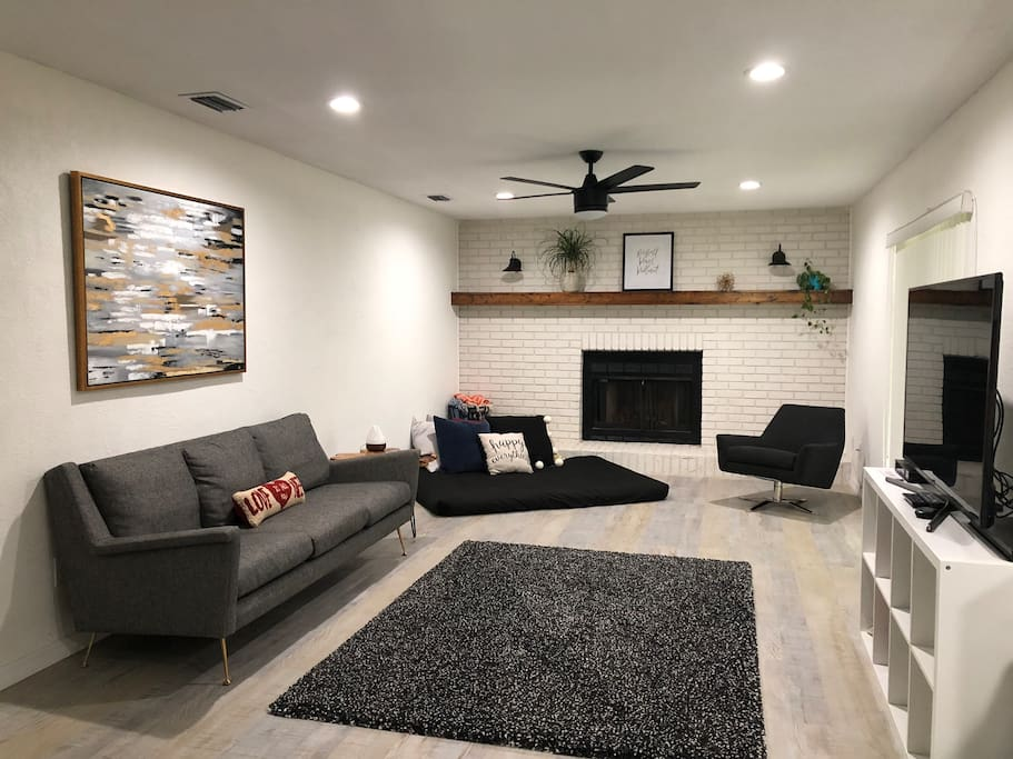"""The back den boosts a large couch and floor mattress as well as a 55"""" Smart TV. We  offer cable as well as all the SmartTV applications including Netflix, HBO, Amazon Prime, etc."""