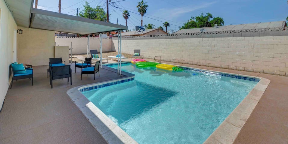 Clean safe home with pool and modern furnishings