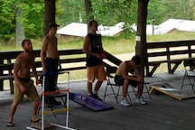 playing corn-hole and ladders at the pavilion