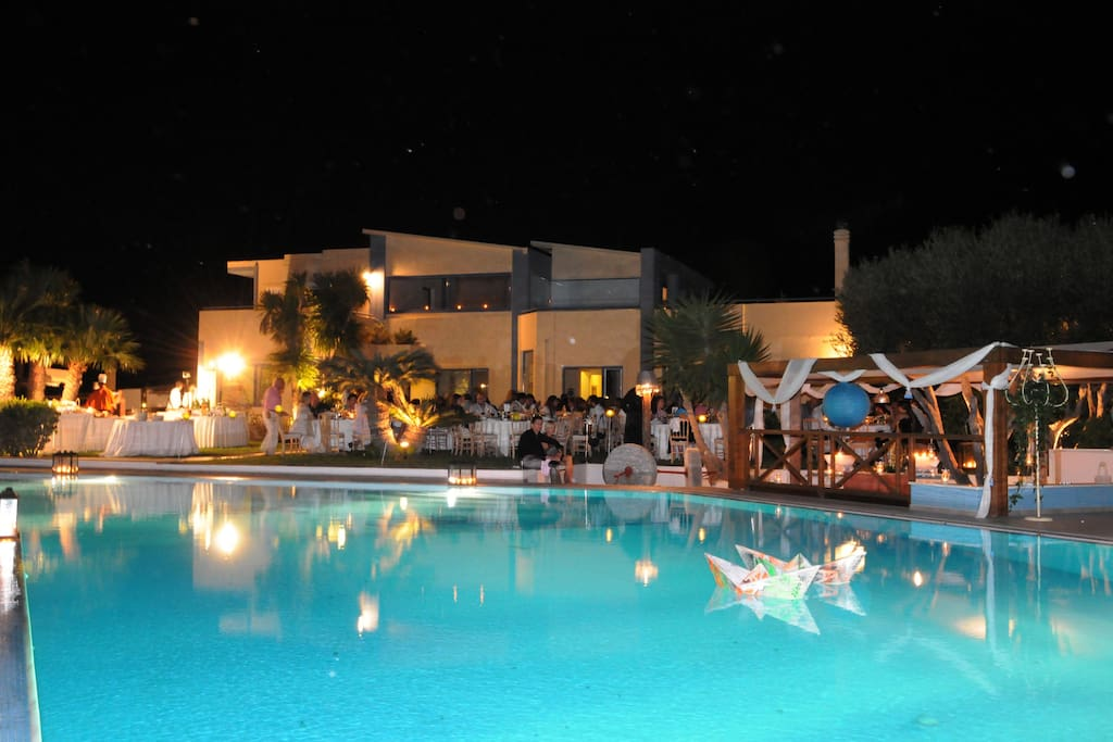 Swimming Pool Front Side House View at Night