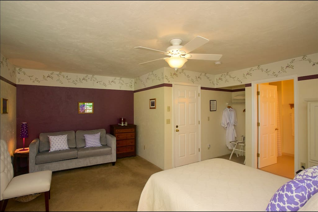 Your room is spacious with a pull-out sofa, & flat-screen TV.