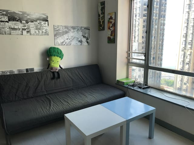 Super sea view top floor studio 西环无敌海景公寓双人床垫&双人沙发床