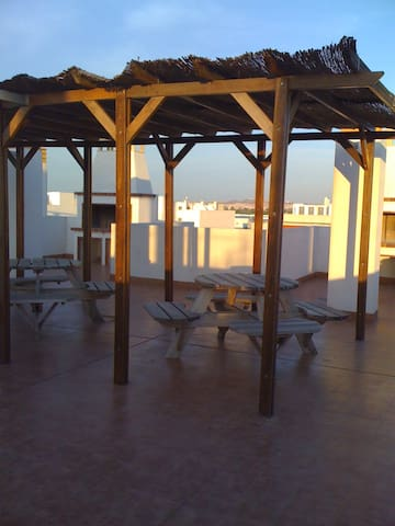 Communal bbq area on roof terrace