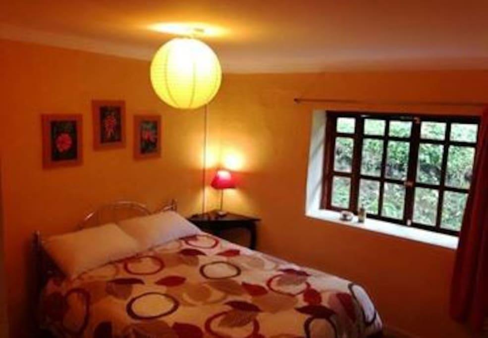 Habitación #2, una confortable cama doble, incluye baño privado.  Room #2, a comfortable double bed; includes private bathroom.
