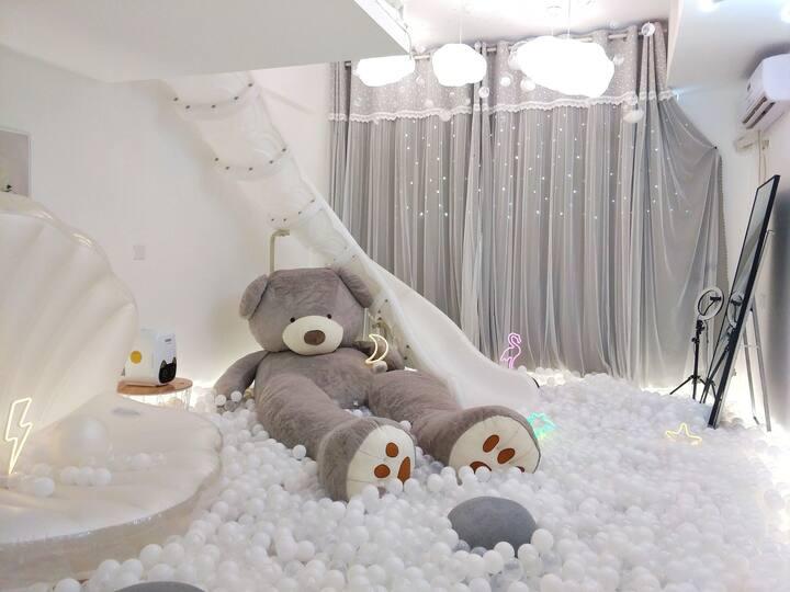 小满民俗【忆白】梦的天堂,滑梯LOFT房