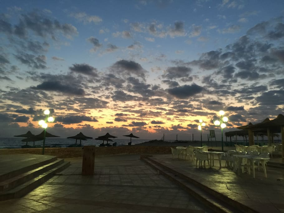 Sun rise from the cafe and restaurant