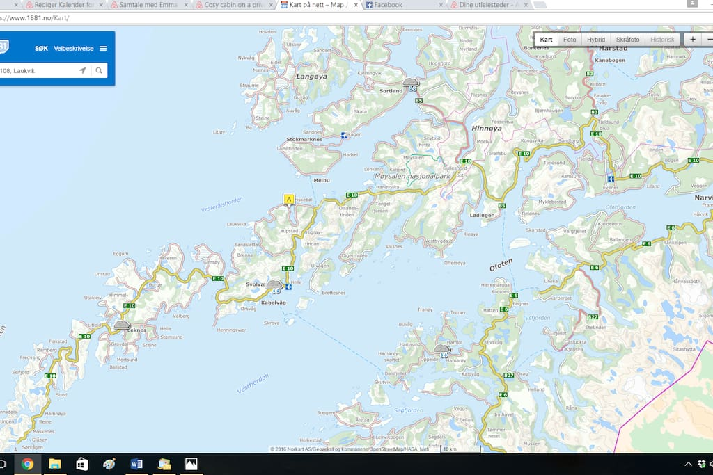 Map over Lofoten where Nettvika is marked with A